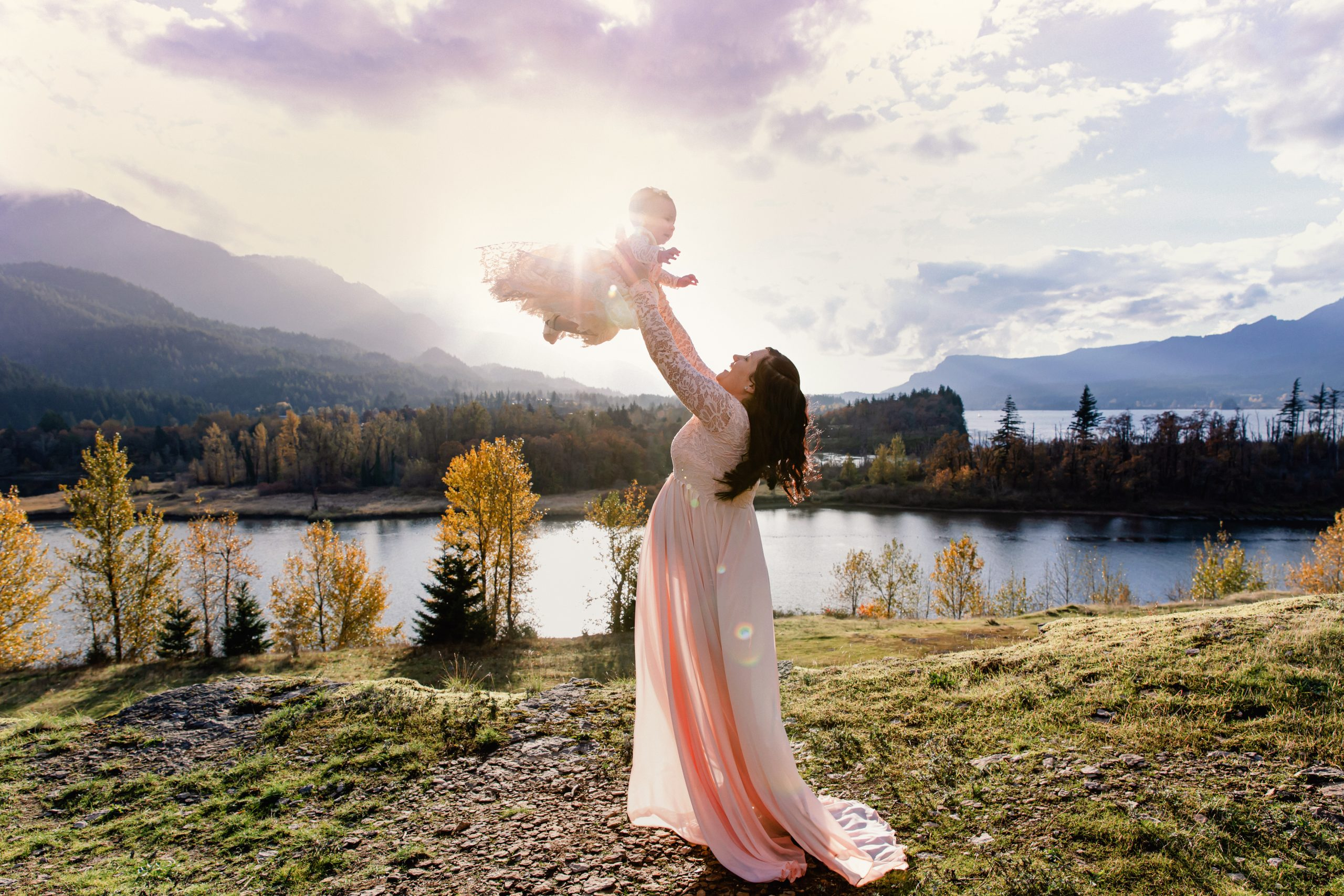 magical maternity session with pregnant mama and her daughter along the Columbia River Gorge